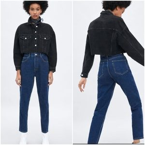 Zara Premium, High Waist Straight Leg Mom Jeans, 6